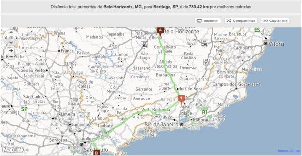 Rota de Belo Horizonte até Bertioga