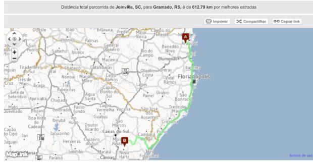 Rota de Joinville até Gramado