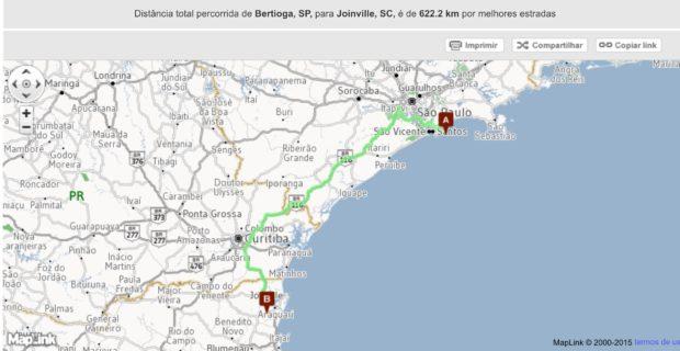 Rota de Bertioga até Joinville